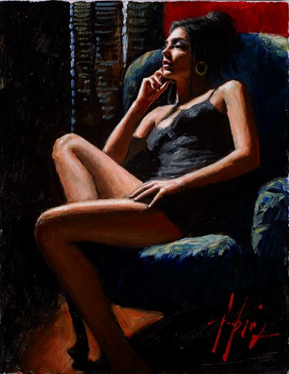 Study for Vanessa in the Blue Chair by Fabian Perez - Varnished Original Painting on Stretched Canvas